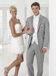 Dark Green Tie Grey Suit Australia - New Arrival Groom Tuxedos Light Grey Groomsmen Notch Lapel Best Man Suit Wedding Men Suits Bridegroom ( Jacket+Pants+Vest+Tie ) A275