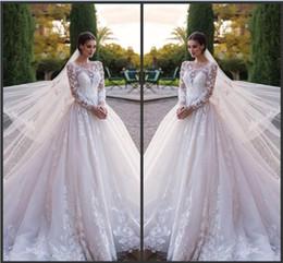 Free Size White Beach Dress Australia - White A Line Sheer Long Sleeve Beach Wedding Dress Crystal Bridal Gowns 2019 New Country Vestido De Novia Princess Wedding Gowns Free Veil
