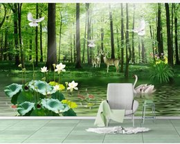 house forest painting Australia - 3D beautiful green forest landscape background wall painting green forest wallpapers