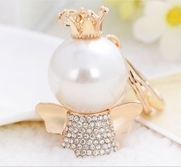 Angels Figures Australia - Creative Pearl Angels Limited Edition Small Gift Alloy Car Keychain and Bag Ornaments