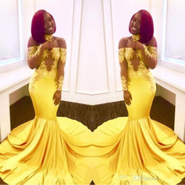 be118119164 Elegant Yellow Off the Shoulder Lace Prom Dresses 2019 Cheap Formal Long  Sleeves Mermaid Appliques Satin Arabic Evening Gowns Plus Size