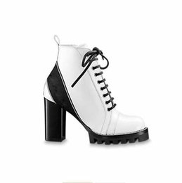 Shoes Boots Direct NZ - Woman's Leather shoes Lace up Ribbon belt buckle ankle boots factory direct female rough heel round head autumn winter Martin Boots GG