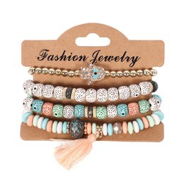 $enCountryForm.capitalKeyWord Australia - 4pcs Lot Bohemian Vintage Bodhi beads chains Bracelets Set For Women Hand of Fatima Tassel charm Wristband Fashion Jewelry Gift