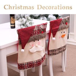 chair stools Australia - Christmas Decoration Home Decor Chair Cover Restaurant Hotel Christmas Square Old Stool Decoration Cover
