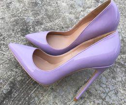 Woman Shoes Stilettos NZ - purple women lady woman 2018 nude python Patent leather Poined Toes Wedding heels Stiletto High Heels shoes pumps boots 12cm 10cm