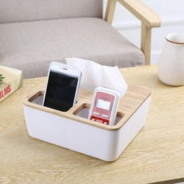 Phone Holder Boxes Australia - 4 Styles Removable Plastic Tissue Box With Oak Wooden Cover Phone Holder Napkins Case Home Organizer Decoration A30