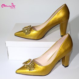 ItalIan leather slIppers online shopping - New Arrival Gold Color Italian Design Women Shoe High Quality Slip on Summer Slipper Shoes Sexy Lady High Heels Shoes for Parties