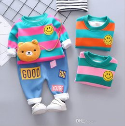 $enCountryForm.capitalKeyWord Australia - New 2019 Spring and Autumn Children's 1-4T Years Old Baby's Big Stripe Smiling Face Thickening and Furring Two Kids Suit