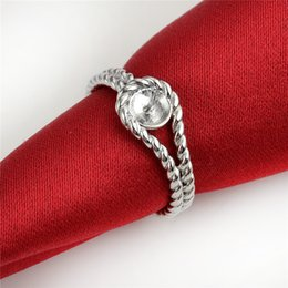 HOPEARL Jewelry Twisted Band Ring Findings 925 Sterling Silver DIY Jewellery Making Pearl Mount 3 Pieces on Sale