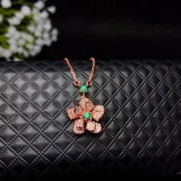 Necklaces Pendants Australia - Handmade Rotatable Beautiful Flower Design Fashion Emerald Charms Necklace Rotatable Pendant For Fine Jewelry Drop Shipping
