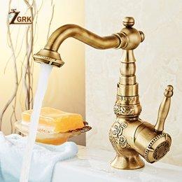 Faucet Kitchen Shower Australia - ZGRK Bathroom Faucet washbasin heightening Antique Brass retro Classic Kitchen Mixer Taps carving Swivel Singe Handle Mixer Tap