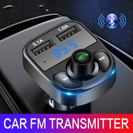 rohs iphone Australia - Car Charger FM Transmitter Aux Modulator Bluetooth Kit Audio MP3 Player with 3.1A Quick Charge Dual USB car charger fast charge