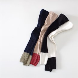 $enCountryForm.capitalKeyWord Australia - INS Patchwork Kids Boy Girls Leggings Stockings Girls Tights Double Needles Ninth Pants High Waist Warm Pure Cotton Bottom Socks and Pants