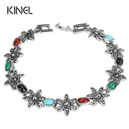 wholesale silver chains india Australia - Kinel Hot Retro Bracelets For Women Silver Color Beautiful Crystal Flowers India Jewelry