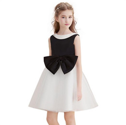 China White Black Flower Girl Dresses Knee Length Scoop Neck Sleeveless Patchwork Kids Formal Occasion Dresses for Prom Party Holiday suppliers