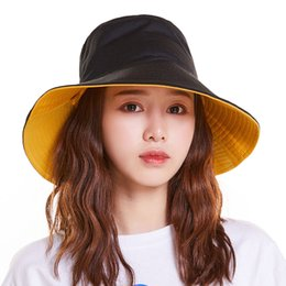 $enCountryForm.capitalKeyWord Australia - Wide Brim Solid Casual Panama Hat Women Bucket Hats Double-sided Wearable Yellow Adult Cotton Flat Fisherman Caps Safari
