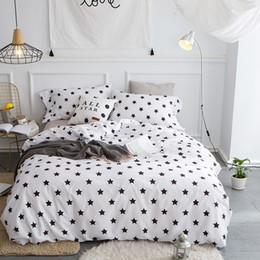 Pink Black Girls Bedding Australia - White Blue Red Black Star Bedclothes Adults Girls 100% Cotton Bedding set Queen King size 4Pcs Duvet cover Bed linen sheet