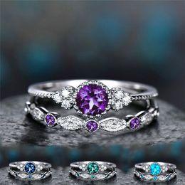 Vente en gros Anniversaire Pierre Cubique Zircon Bague Diamant Bague En Cristal Ensemble Couple Bague De Fiançailles De Mariage Femmes Mode Bijoux Cadeau 080393