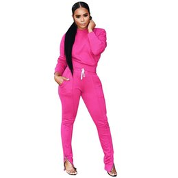 Pink Clothing Women UK - Women's Sports Suits Fall Winter Tracksuit Sexy 2 Piece Set Clew neck Leg zipper women Clothing Sets NB-1308