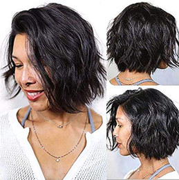 $enCountryForm.capitalKeyWord Australia - New arrival Short human hair wig lace front pre plucked wavy bob 360 lace frontal wig 10inch 130%density layered bob