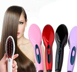 Electric Hair Straightening Iron Australia - 5 Colors Electric Hair Straightener Brush Hair Care Styling Comb Auto Massager Straightening Irons Quick Done Hair Iron Free Shipping