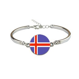 Woman Fans UK - Iceland National Flag World Cup Football Fan Time Gem Glass Cabochon Button Bracelet Vintage Link Chain Wristband Jewelry Gift for Women Men