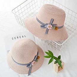 fbd047a6 beach hat summer women Casual wide brim straw Visor Foldable Sun Protection Sun  Flower Straw Hat Beach Fisherman L0409