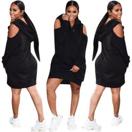 $enCountryForm.capitalKeyWord NZ - women dress hoodie autumn winter solid color hooded bare shoulder sweater dress Sports style casual black xl 811