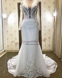 $enCountryForm.capitalKeyWord Australia - Inbal Dror 2019 vintage Amazing lace court Train Backless sexy deep v neck mermaid Wedding Dresses with long sleeves Illusion Bridal gowns
