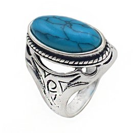 Tibet Ring Women Australia - 2018 New Personalized Jewelry Vintage Antique Silver Turquoises Ring for Men Tibet Women Finger Ring