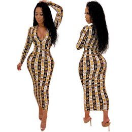 sexy snakeskin dresses Australia - New Arrival Women Dress Designer for Summer Luxury Snakeskin Print Long Sleeve Dresses V-neck Bodycon Dress Sexy & Club Style Hot Sale