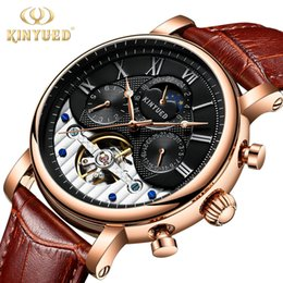 moon calendar dates UK - KINYUED Moon Phase Top Brand Men Mechanical Watches Automatic Skeleton Watch Men Calendar Rose gold Relogio Masculino