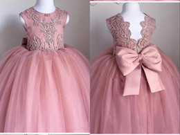 gown girls white rose Australia - Fashion Dusty Rose Pink Ball Gown 2020 Cheap Flower Girls Dresses For Wedding Applique Beads Tulle Hollow Back Big Bow First Communion Dress