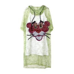 Thailand Shirts UK - Thailand tropic beach Bohemia mesh gauze sheer transparent t-shirt dresses women pink sequin leopard green tie dye dress with basic Camisole