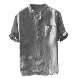 $enCountryForm.capitalKeyWord Australia - 2019 Summer Shirts Men 100% Pure Cotton Linen Shorts Sleeve Striped Pullover Slim Fit Stand Collar Tops Brand Clothing CD019518