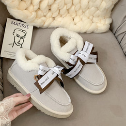 Snow boot inSoleS online shopping - Snow boots warm fur plush Insole women winter boots square heels flock ankle women shoes lace up winter shoes U11