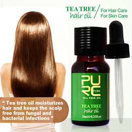 hair oil dandruff NZ - PURC Tea tree and Moroccan hair Oil 10ml hair treatment for dry and damaged moisturizes hair and best for skin care 6pcs