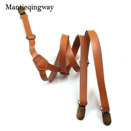 $enCountryForm.capitalKeyWord Australia - Mantieqingway 1.5cm Skinny Suspenders for Women Elastic Suspenders Mens Leather Adjustable Braces Belt Trousers Dress Strap