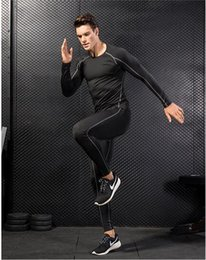 body tight clothes NZ - New men's PRO tight body fitness training suit stretch quick dry clothes suit long sleeve + trousers