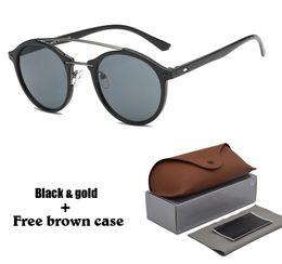 fc4f15c02db Round Sunglasses Women men Original Brand Designer Retro Twin-Beams Sun  glasses Women Female Mirror Ladies Shades UV400 with Retail box