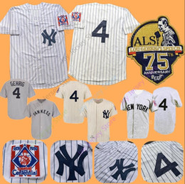 3676aa0d079 Lou Gehrig Jersey MN Yankees 1939 Cooperstown New York Cream White  Pinstripe Grey Black Home Away All Stitched