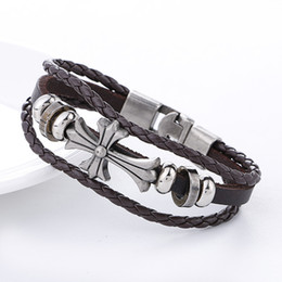 $enCountryForm.capitalKeyWord NZ - Genuine Leather Cross Bracelet Skull Feather Leaf Charms Multilayer Wrap Braided Jewelry for Men Women Vintage Silver Beads Punk Gift Bangle