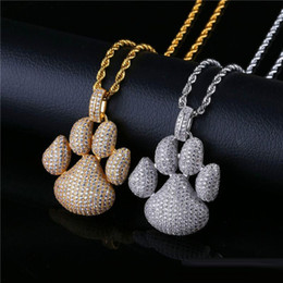 Dog Plates Australia - Bling Cubic Zirconia Hip Hop Jewelry Men Dog Footprint Necklace Ice Out Gold Plated Necklaces 2019 Fashion