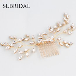 wire hair combs Australia - SLBRIDAL Gold Handmade Wired Rhinestones Pearls Wedding Hair Comb Bridal Headpieces Crystal Hair Accessories Bridesmaids Jewelry Y200409