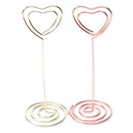 Gold Wedding Card Holders Australia - 6 pcs Rose Gold Heart Shape Photo Holder Stands Table Number Holders Place Card Paper Menu Clips For Wedding Party Decoration