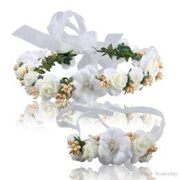 White Wrist Flower Australia - artificial Bridal White Hair Flowers and Wrist For Beach Wedding Party Bridal Bridesmaid chic headband For Brides Wedding Dress Studio