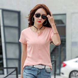 Discount plain women tees - GIGOGOU S-4XL Plain T Shirt Cotton V Neck Basic T-shirts Female Casual Tops Tee Short Sleeve T-shirt Women Harajuku Q190