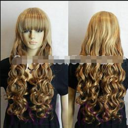 $enCountryForm.capitalKeyWord Australia - WIG LL<<< 003351 new women cute long wavy curly blonde yellow full stynthetic cosplay hair wig