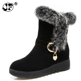 Motorcycle Hair Australia - Winter 2018 Fur Natural Rabbit Hair Snow Boots Woman Warm Flat Mid Suede Leather Short Boots For Women 658