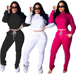 Discount woman white yoga pants - women designer sportswear long sleeve shirt pants tracksuit hoodie legging 2 piece set bodycon outfits fashion sports se